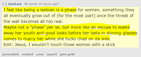 """LionLaw 49 points 17 hours ago*  I feel like being a lesbian is a phase for women, something they all eventually grow out of (for the most part) once the threat of the wall becomes all too real. Maybe not a """"phase"""" per se, but more like an excuse to waste away her youth and good looks before her beta in shining glasses comes to marry her while she fucks chad on da side. Edit: Jesus, I wouldn't touch those women with a stick"""
